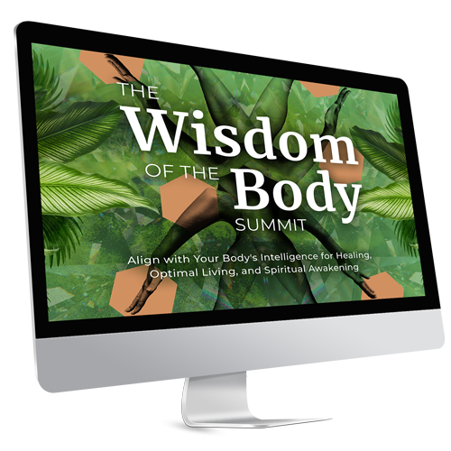 "image of computer which says ""wisdom of the body summit"" on an intricate green background"